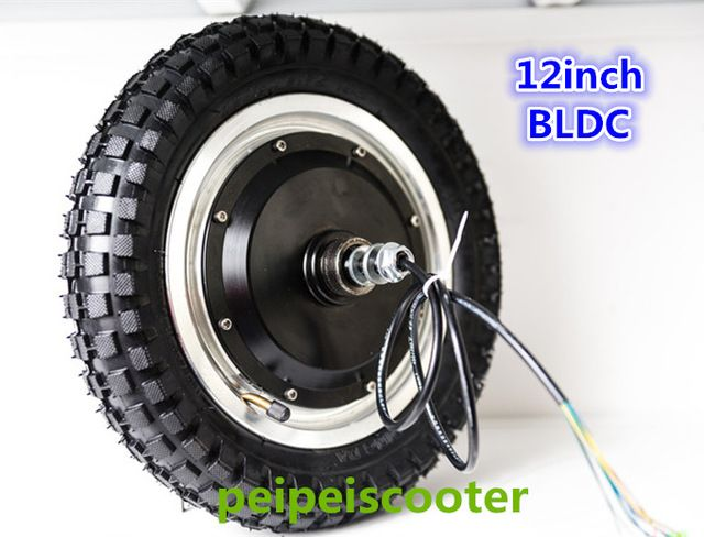 12inch 12 inch thin tyre BLDC brushless non-gear double shafts dc hub wheel  motor with tyre 36v 350w scooter motor phub-79