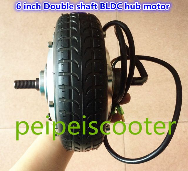 6 inch 6inch BLDC brushless no-gear dc scooter wheel hub motor double  shafts with tire and hall sensor phub-161K