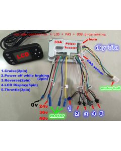 30A LCD brushless motor controller electric bicycle conversion kit diy-01a