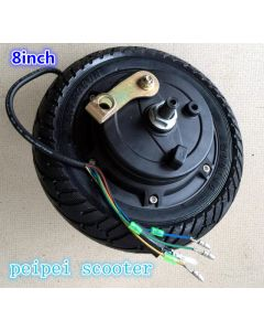 8 inch no-brush no-gear dc wheel hub motor with tire and drum brake for scooter motor phub-02a