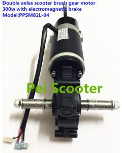 Double axles electric scooter brushed gearbox dc motor 300w with electromagnetic brake PPSM82L-04