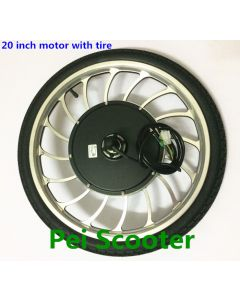 20 inch BLDC double shafts dc wheel hub motor with disc brake (16 inch rim) with tyre scooter hub motor and ebike motor phub-149