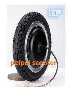 14inch BLDC 48-60v 350-500w brushless gearless dc wheel hub motor for scooter motor phub-118