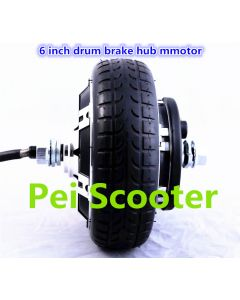6inch 6 inch tyre BLDC brushless non-gear double shafts dc wheel hub motor scooter motor drum brake phub-212
