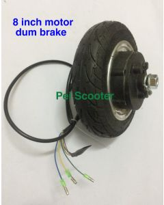 8 inch no-brush no-gear double shafts dc wheel hub motor with tire and drum brake for scooter motor phub-02c