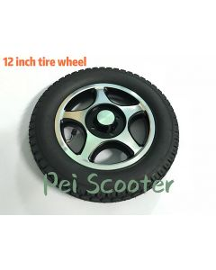 12inch 12 inch aluminum alloy inflatable rear wheel motor drive wheel anti-slip wheelchair wheel with tires phub-12tbc