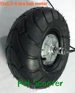 13 inch 13X6.50-6 wide tyre double axle brushless gearless dc scooter hub wheel motor can with disc brake phub-167G